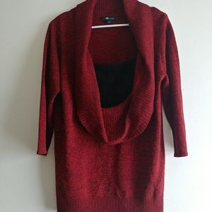 Lightweight cowl sweater layered look